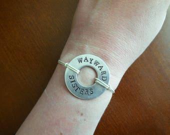 Wayward Sisters hand stamped washer bracelet - Supernatural, SPNFamily, Always Keep Fighting, Winchesters, fandom, Wayward AF