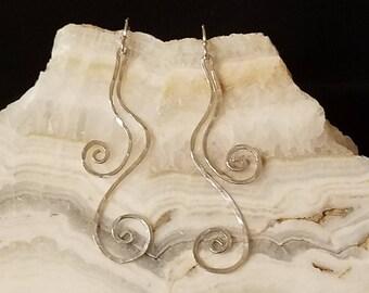 Sterling Silver, Earrings, Custom Jewelry, Sterling Earrings, 925 Silver, Hammered Sterling Silver, Swirls, Curvy, Gifts