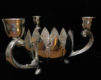 Silver Plate Candle Holder with center for Floral Arrangement
