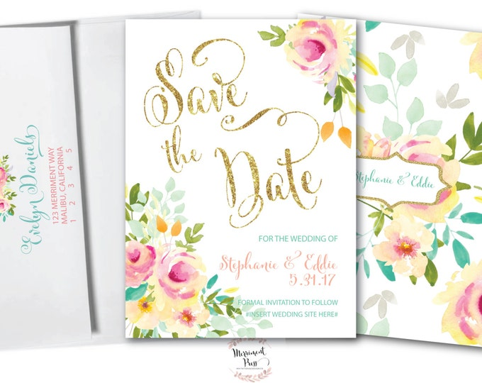 Floral Save the Date // Peony // Gold Glitter // Card // Peach // Pink // Mint // Yellow // MALIBU COLLECTION
