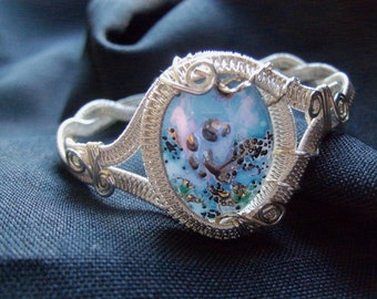 sterling silver hand painted cameo wire wrapped bracelet