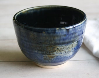 Blue and Black Glazed Yunomi Cup 10 oz. Handcrafted Stoneware Teacup Ceramic Pottery Ready to Ship Made in USA