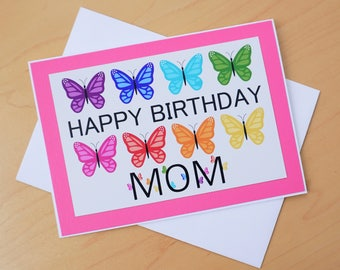 Birthday card for Mom, Mom birthday card, Butterfly card, Butterfly birthday card for Mom, Butterfly Happy birthday, Mom card,  Butterfly