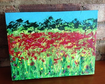 Summer meadow painting on canvas