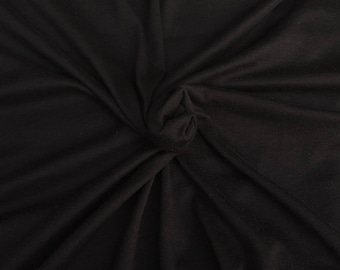 Black Supima Cotton Modal Spandex 1x1 Rib Knit Fabric by the Yard 12/17