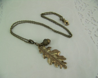 Oak Leaf Necklace, Acorn Necklace, Acorn and Oak Necklace, Bronze Leaf Necklace, Bronze Acorn Necklace, Good Luck Necklace, Acorn, Oak Leaf