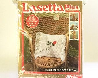 Pillow Kit Craft Kit DIY Pillow weaving Kit Rose Pillow Lasetta craft Kit 1985
