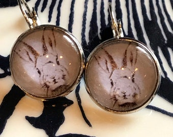 Black and White Bunny Rabbit cabochon earrings- 16mm