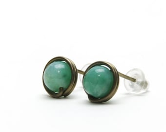 African Jade Stud Earrings - Hypoallergenic Niobium Wire Wrapped Natural Stone Studs, Antique Brass Niobium Earrings, Jade Green Studs