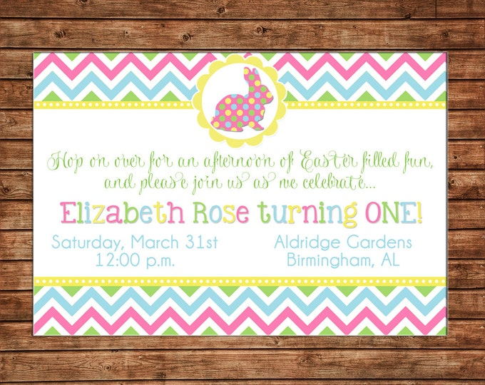 Boy or Girl Invitation Easter Egg Spring Shower Bunny Birthday Party - Can personalize colors /wording - Printable File or Printed Cards