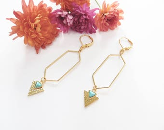 Geometric Gold Earrings With Turquoise Gems, Hexagon Earrings, Long Dangle Earrings, Triangle Earrings