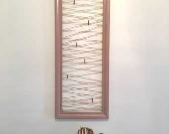 Picture Display, Stained, Solid Wood, Jute Rope and Clothes Pins, Rustic Decor, Photo Picture Frame, Framed Jute Twine Rope Picture Clips