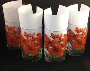 Cora Daylilies Highball Beverage Glasses ~ Set of 4