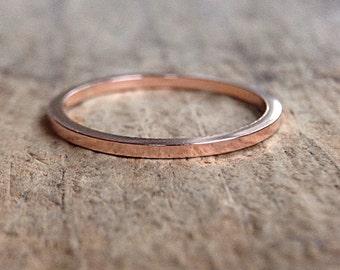 Square Rose Gold Ring Band, Square Ring, 14K Rose Gold Fill Ring, Pink Gold Stackable Ring, Gold Stack Ring, Bohemian Ring, Bohemian Jewelry