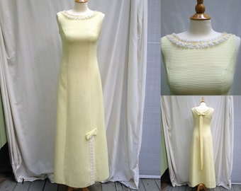1960s Floor Length Vintage Yellow Evening Prom Bride Maids Sleeveless Dress from Nadines, Yellow Daisy Lace Trim, Bows