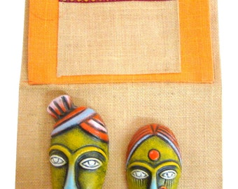 Home Decor Wall Hanging Organizer Indian Handicraft Keys Holder and Papers Holder Paper Mache Faces on Matty from Pondicherry in South India