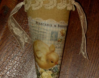 Easter Chick with Forget me Nots Vintage Lace  Candy Cone Tussie Mussie Large