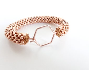 Rose gold Bracelet // Bracelet hexagon // Geometric Bracelet // Bracelet Honeycomb // Beaded Rope bracelet // Crochet Bead Bangle //