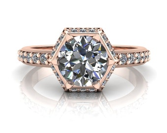 Unique Halo Moissanite Engagement Ring Moissanite and Diamond