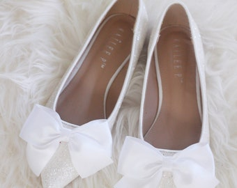 Women Wedding Shoes, Bridesmaid Shoes   WHITE ROCK Glitter Pointy Toe Flats  With SATIN Bow At Front