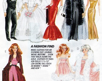 "McCalls 7400 Ken and Barbie Clothes Pattern Formalwear Clothes Pattern for 11 1/2"" Doll"
