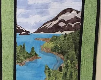 Canadian mountains - Handmade appliqued wall hanging