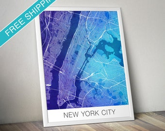 New York City Map Print - Map Art Poster with Watercolor Background