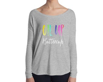 Oil Up Ladies' Long Sleeve Relaxed Tee