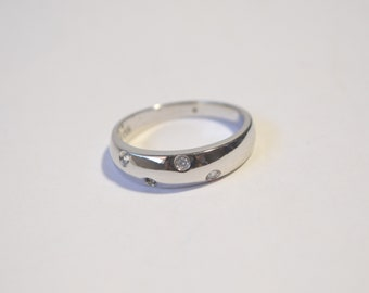 Vintage Sterling Silver 925 Topaz Band Ring Size 9