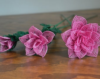 3 french beaded flowers handmade roses different sizes dusty rose pink color