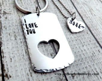 personalized keychain- couples necklace-couples keychains -valentines day -dog tag-heart-couples necklace-I love you more
