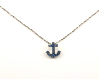 Vintage Anchor Pendant Blue CZ Necklace 925 Sterling NC 84-E