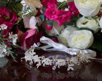 Bride/bridesmaid silver crystal hair vine