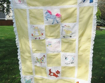 Vintage Yellow Gingham Crib Quilt, Farmhouse Applique/Embroidery Blocks, 1970s