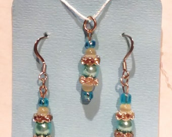 Blue Hues Sparkly Beaded Drop French Hook Earrings and Pendant Hypoallergenic