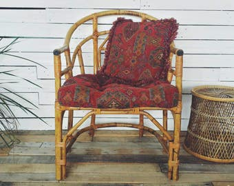 Bamboo Chair with Aztec Pillows