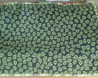 Green Flowers and Monkeys with Bananas Tie Fleece Blanket