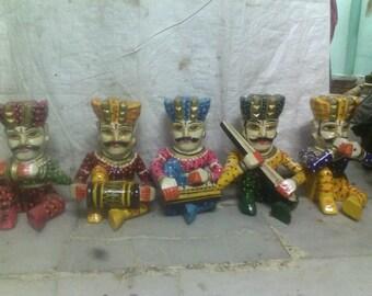 Wooden Handmade Rajasthani Musician Babla Five Piece Set