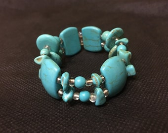 Turquoise Double Beaded Bracelet