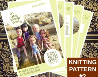 Tree Change Dolls® Knitting Pattern #2, Vintage Swimsuit (or Playsuit) by Sonia and Silvia Singh