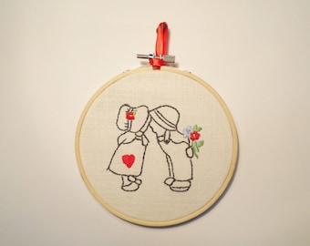 Embroidery Hoop Art, Nursery Room Decor, Girl And Boy Embroidery Art