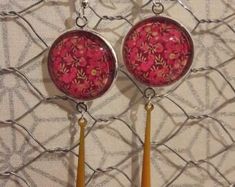 Dangling earrings, liberty floral pattern
