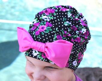 Floral Ruched Swim Cap, Swim cap, Baby swim cap, toddler swim cap, swim cap, baby girl swim cap, infant swim cap, vintage swim cap, swim hat