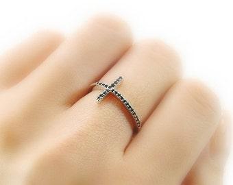 Gold Ring - Black Diamond Ring - Bar Ring - Cross Ring - Crystal Ring - Skinny Ring - Stacking Ring