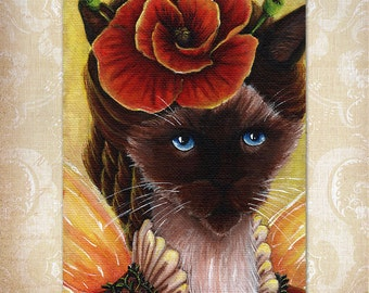 Poppy Fairy Siamese Cat Flower Fantasy Art 5x7 Print