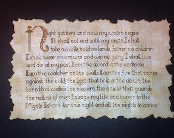 Framed Nights Watch Oath cross stitch