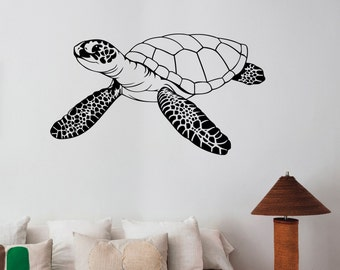 Sea Turtle Wall Sticker Removable Vinyl Decal Ocean Animal Art Underwater Life Decorations for Home Housewares Bathroom Wildlife Decor trt11