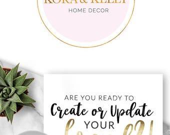 225 - Kora & Kelly, LOGO Premade Logo Design, Branding, Blog Header, Blog Title, Business, Boutique, Custom, Modern, Geometric, Teal,
