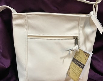 Emily Style cross body leather purse-made in the USA- cream color leather- other colors available