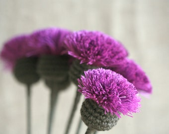 5 pc pink and violet,purple crochet, textile thistle with dark stem